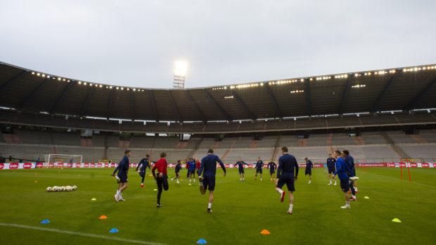 Scotland players train at the King Baudouin Stadium on Monday night.