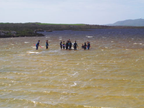 Swimming in Loch Bhasapol