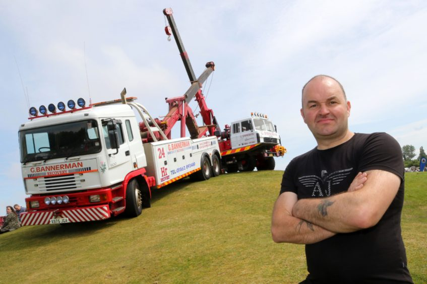 David Lawrence with an ERF EC11 and a Foden Crane, both used for vehicle recovery.