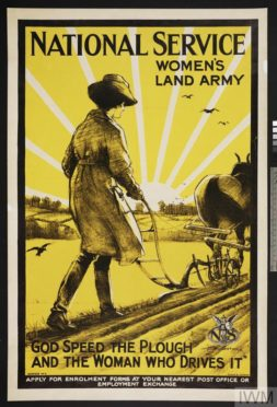 National Service - Women's Land Army - God Speed the Plough and the Woman Who Drives It (Art.IWM PST 5996) whole: MODEL design: Land Girl, full-length figure, in uniform and hat, guiding a horse-drawn plough to right. Crows, soaring over the newly furrowed ground, are silhouetted against the stylised rays of a partially obscured sun text: 'NATIONAL SERVICE' (upper edge) & 'WOMEN'S LAND ARMY' (in 2 lines at upper right of design) & ''GOD SPEED THE PLOUGH AND THE WOMAN WHO DRIVES IT'' (in 2 lines at base... Copyright: © IWM. Original Source: http://www.iwm.org.uk/collections/item/object/10507