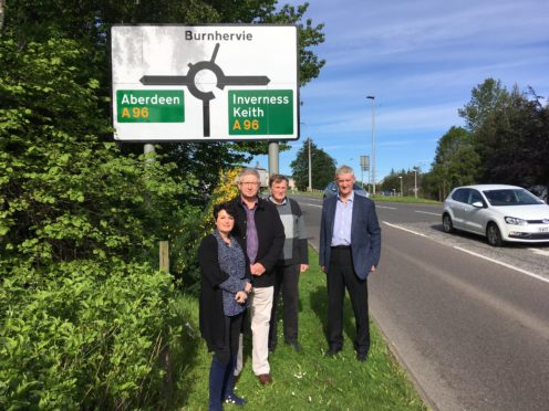 Lorna Anderson, chairwoman of the A96 Action Group, Innes Simpson, group secretary, John Morrison, farmer at Ingliston, and Peter Chapman, North East region MSP.
