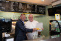 MP Drew Hendry with David McLeod at McLeod's Fish and Chips.