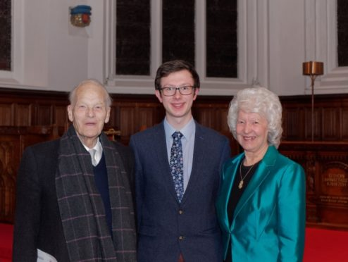 Professor Derek Ogston, James Aburn and Margaret Carlaw