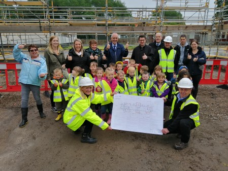 Pilmuir nursery pupils outside the building site.