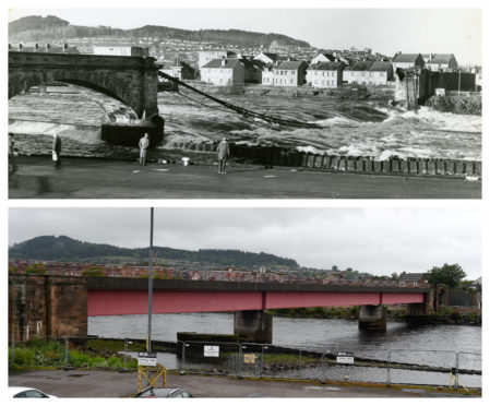 The old bridge in February 1989 and the new bridge as it appears now. Pictures by David Murray (1989) and Sandy McCook (2019).