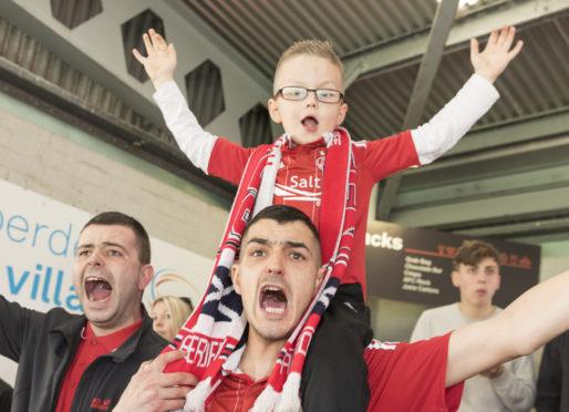 A picture of supporters at Aberdeen Football Club.