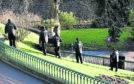 Police Scotland officers search Union Terrace Gardens following the assault Aberdeen