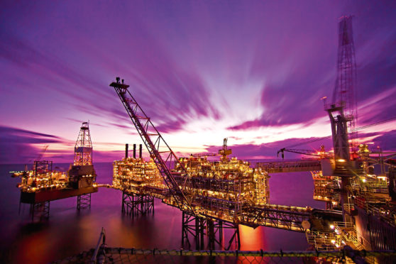 BG Group - Buzzard production platform, North Sea.