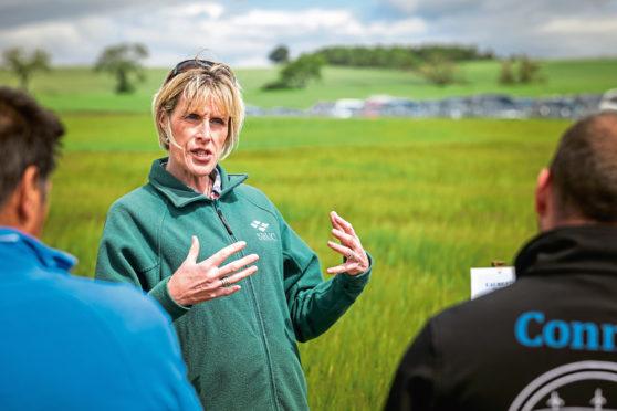 Professor Fiona Burnett speaking to growers at the event.