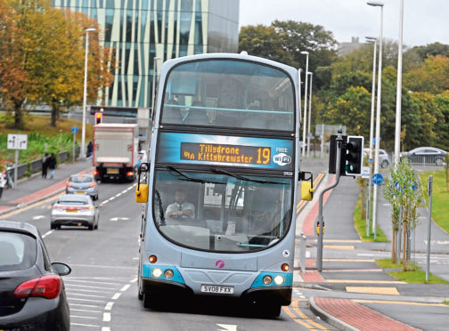 First bus service 19, Tillydrone Avenue Aberdeen.  Picture by Chris Sumner  Taken 12/10/16