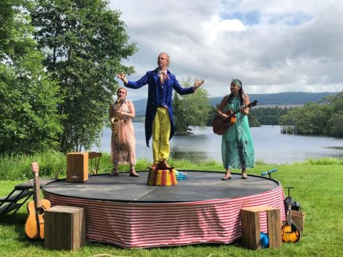 Lochside fun with Mr Magnolia played by David English, centre, Kirsty Geddes as Nelly Magnolia, left, and  Dora Magnolia, right, played by Tayla Buck