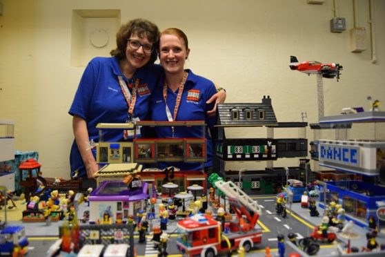 Tartan LUG chairwoman Christine Aird, left, with Alison Clayton and her display in Peterhead Prison Museum