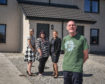 Aimee Borzoni, commissioning officer for Health and Social Care Moray, Emma Horne, service leader for CIC , Stacy Angus, Osprey Housing's services manager and tenant Phillip Gillies outside the new Fochabers development.
