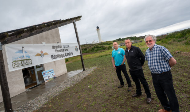 Chris Tuke, Derek White and Graham Kilpatrick of the Covesea Lighthouse Royal Navy and Royal Air Force Heritage Centre.