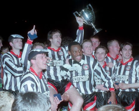 Elgin City with their ill-fated trophy