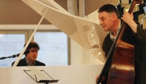 Pianist Euan Stevenson and bass player Brian Shiels performing during the concert.