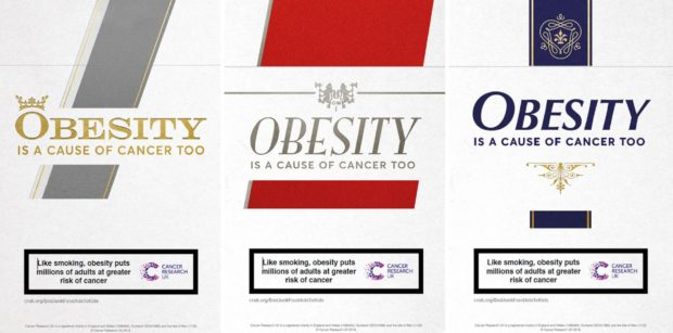 Cancer Research UK undated handout photo of the posters the charity are using in their latest campaign, as they warn that obese people now outnumber smokers by two to one and  obesity causes more cases of some cancers than cigarettes. PRESS ASSOCIATION Photo. Issue date: Wednesday July 3, 2019. See PA story HEALTH Obese. Photo credit should read: Cancer Research UK/PA Wire  NOTE TO EDITORS: This handout photo may only be used in for editorial reporting purposes for the contemporaneous illustration of events, things or the people in the image or facts mentioned in the caption. Reuse of the picture may require further permission from the copyright holder.