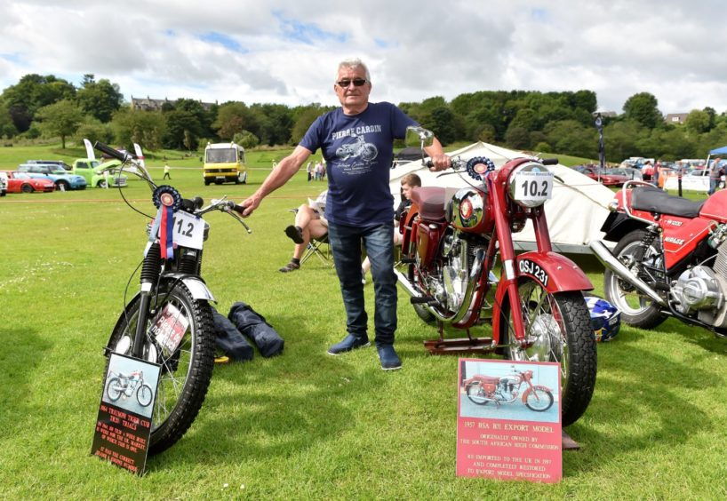 Hugh Junor with a 1964 Tiger Triumph and 1957 BSA B32.   Picture by Scott Baxter    30/06/2019