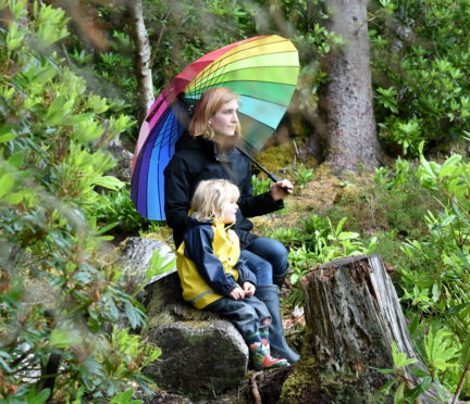 Merlin Planterose with son Feichin (3) at the site of the proposed nursery at Leckmelm near Ullapool.