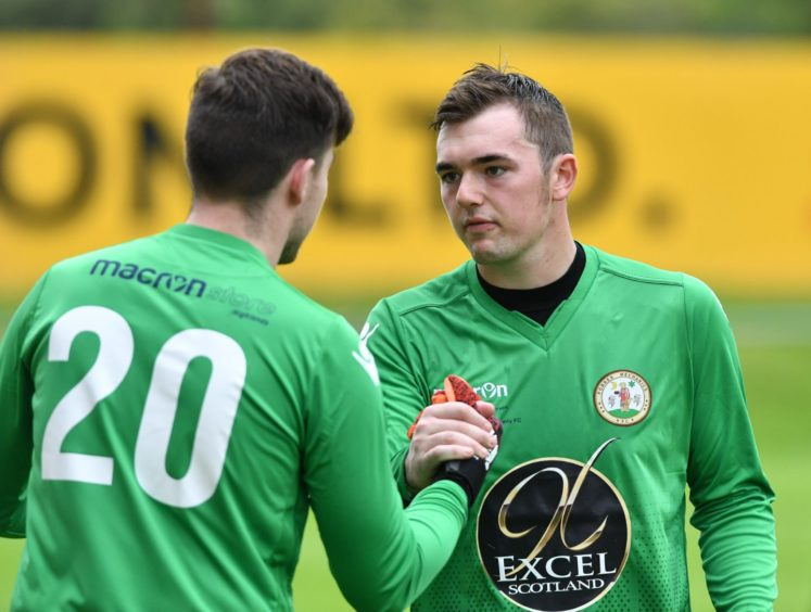 Forres goalkeeper subbed - Euan Storrier   Pictures by JASON HEDGES