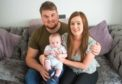 Elgin mum Leanne Maxtone with baby son Harvey and husband CJ Maxtone.