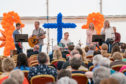 Lossie Baptist Church Praise band and Minister performing at the Songs of Praise for the conclusion of the Seafest.