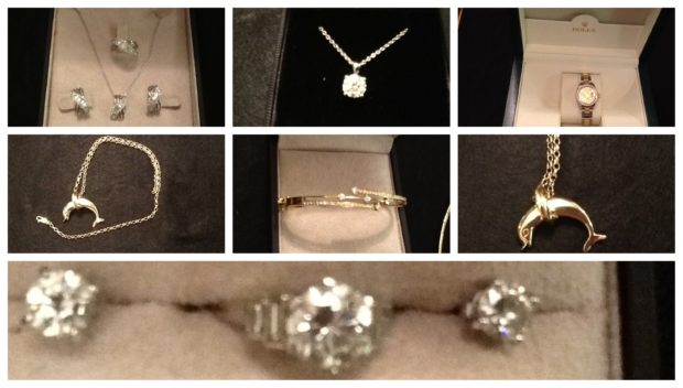 The items of jewellery stolen from the rural property.