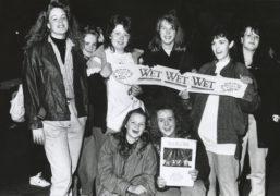 A group of happy female fans of Wet Wet Wet with (far left) Linda Ewen (14) and (far right) Karen Aitken (16), both Banchory.