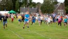 Youngsters taking part in the children's races at the 2018 Aboyne Highland Games