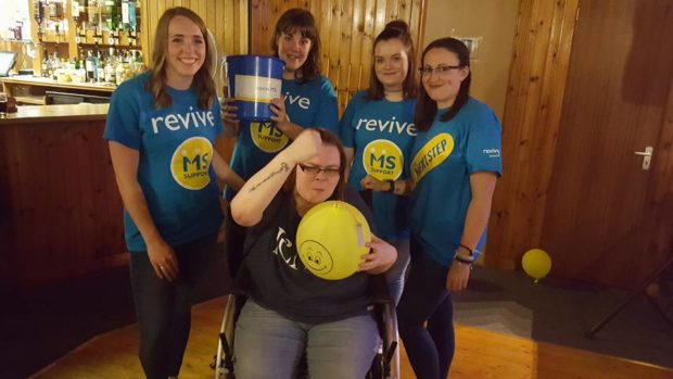 Lucy Olsen with Katrina Laurie, Megan Whyte, Katy Cameron and Gillian Gallacher on one of their many fundraising night in Lochaline.
