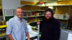 Foodbank at CFINE.  Dave Simmers, left,  and  Graeme Robbie.