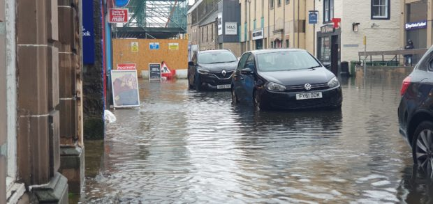 Flooding hit Elgin High Street.
