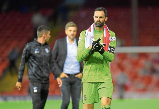 15/08/19 UEFA EUROPA LEAGUE QUALIFIER 3RD ROUND 2ND LEG HNK RIJEKA v ABERDEEN PITTODRIE - ABERDEEN Aberdeen captain Joe Lewis at full time