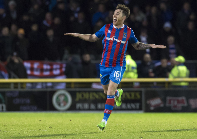 Tansey celebrates after netting against Rangers in February 2017.