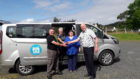 Highland Council's Senior Transport Officer Ali MacDonald is pictured handing over the keys to (L to R) Driver Tony Raine;  GCCS Director Annette Mackenzie  and GCCS Co-ordinator Christine MacIver.