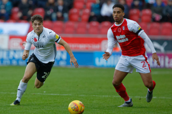 Zak Vyner (right), pictured on loan at Rotherham United, has signed for Aberdeen until January.
