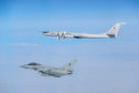 The Russian TU-142 'Bear' Bomber being monitored by a jet from RAF Lossiemouth.