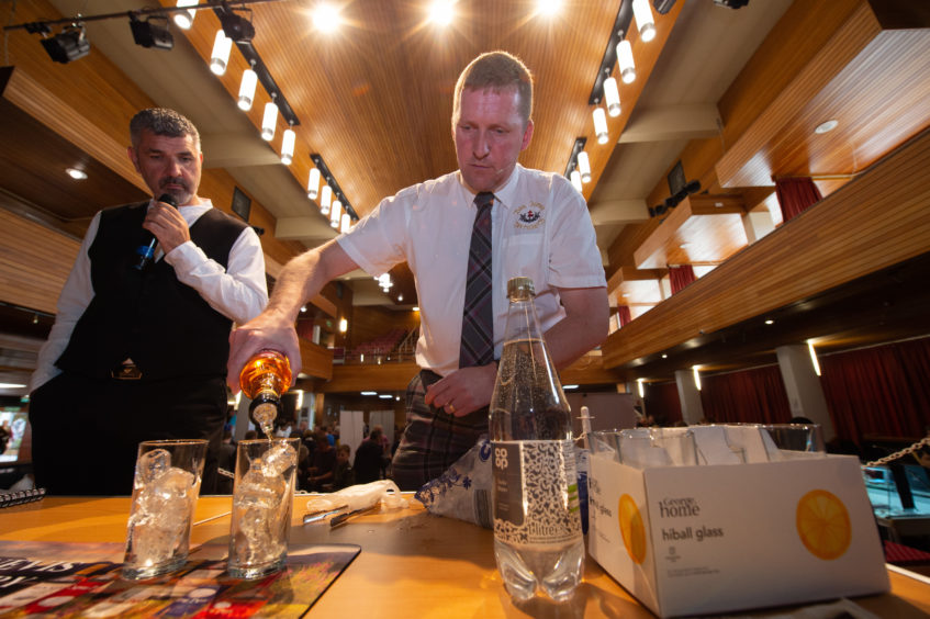 Aaron Roos from Ben Nevis Distillery leads a demonstration at Elgin Food and Drink Festival 2019