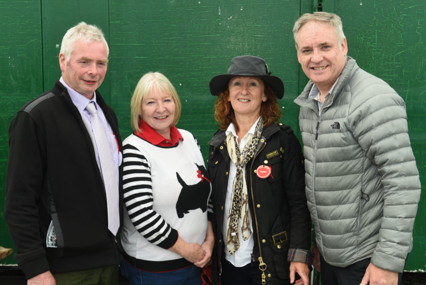 (L-R) - Jim Matthew (the show president), Theresa Coull (chairman), Angela McWilliam and MSP Richard Lochhead