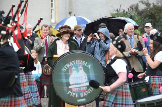 Departing Lord Lieutenant of Banffshire Clare Russell holds a retirement garden party for the community at Ballindalloch Castle. The event is also being used to celebrate the centenary of the Keith-based Strathisla Pipe Band   Pictures by JASON HEDGES