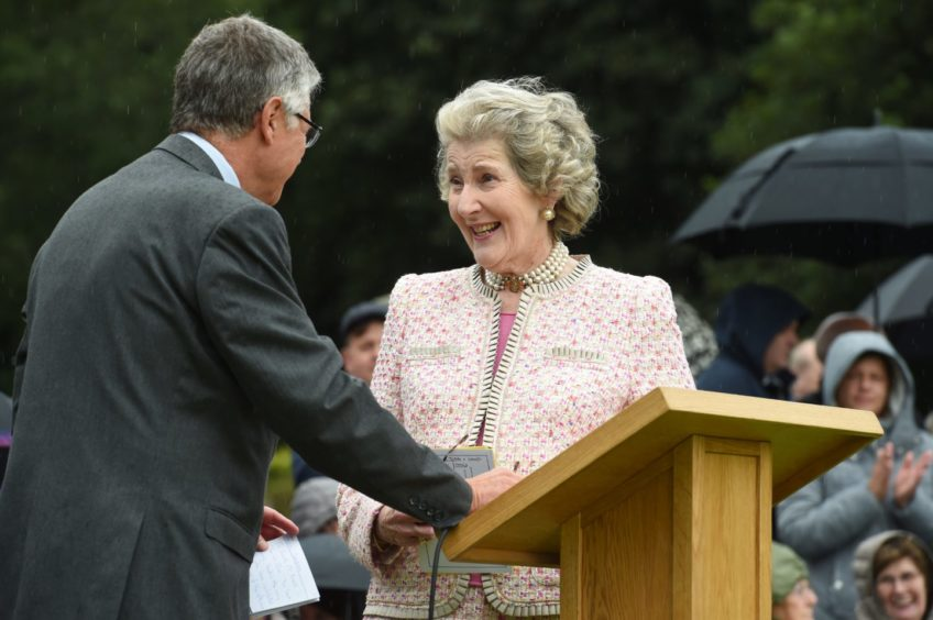 Clare Russell with incoming Lord Lietenant of Banffshire Andrew Smith.  Pictures by JASON HEDGES