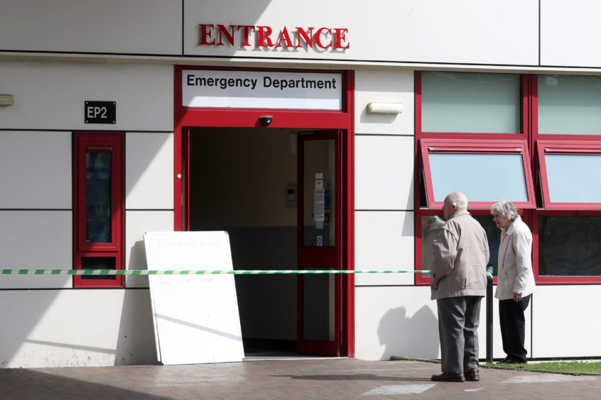 The waiting room at Raigmore Hospital A&E department was closed due to flooding. Picture: Andrew Smith
