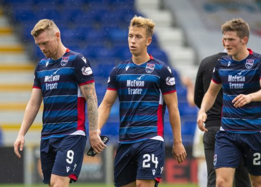 Ross County's Billy McKay, Harry Paton and Blair Spittal (L-R) at full time