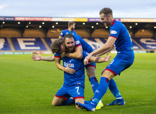 INVERNESS, SCOTLAND - August 30: Inverness' James Keatings celebrates his second goal with teammates Jordan White and Tom Walsh during the Ladbrokes Championship tie between Inverness CT and Greenock Morton, on August 30, 2019, at Caledonian Stadium, in Inverness. (Photo by Bill Murray / SNS Group)