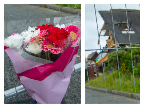 Tributes left at the scene of a gas explosion on Shetland