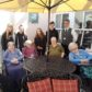 Bayview House residents Jessie Maclean, Ann Miller, Jessan Mackay and Rona Gow are seen here trying out the garden furniture with members of the Thurso High School's winning team and depute head teacher Mr Omand looking on