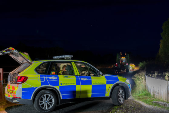 22 August 2019. Carr Road, Carrbridge, Highlands, Scotland, UK. This is the scene of the RTC involving Cyclist and Tractor.