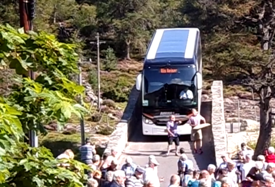The Danish bus was spotted going across Gairnshiel bridge