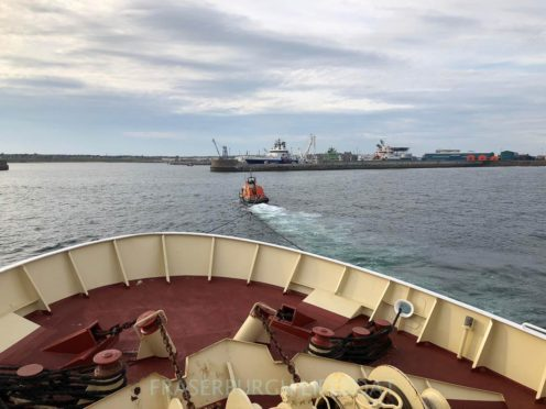 Fraserburgh Lifeboat Willie and May Gall towing Bressay Bank to safety