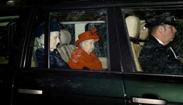 The Queen arrives at Crathie Church, Balmoral.